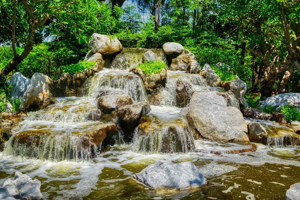 Water feature in Muang Boran (Ancient City) open air museum in Samut Phrakan near Bangkok, Thailand