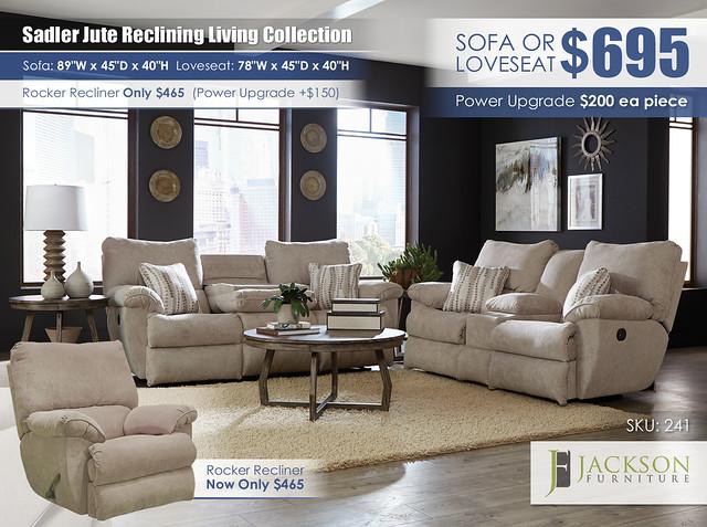 Sadler Jute Reclining Living Collection_241