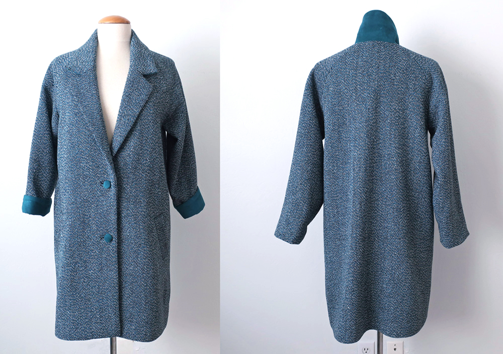 Teal coat front and back