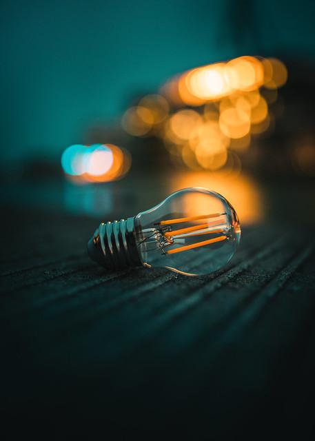 bulb on fire