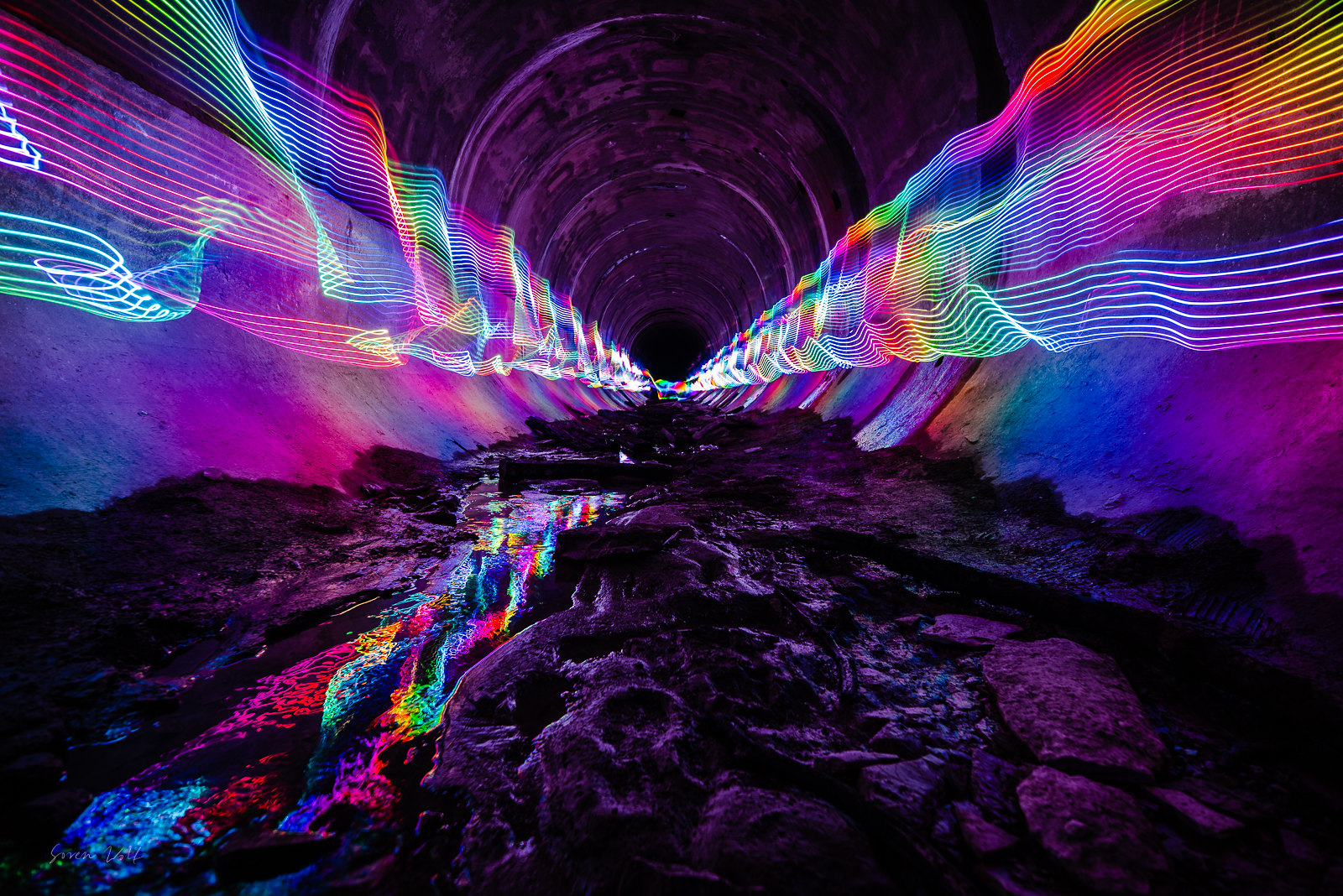 ITAP of an old abandoned part of a hydroelectric plant with rainbow leds.
