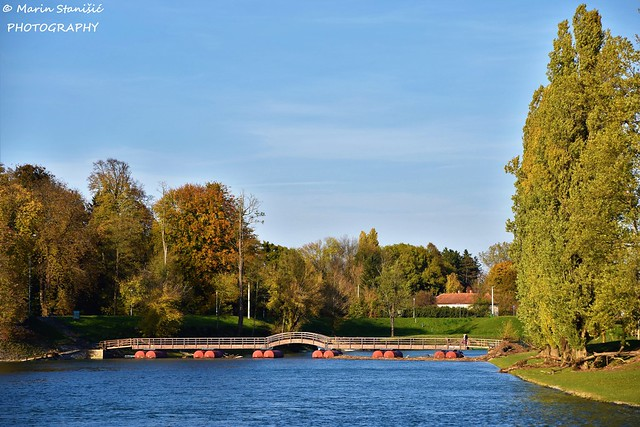 Karlovac, Croatia - Sunny autumn afternoon on river Korana...