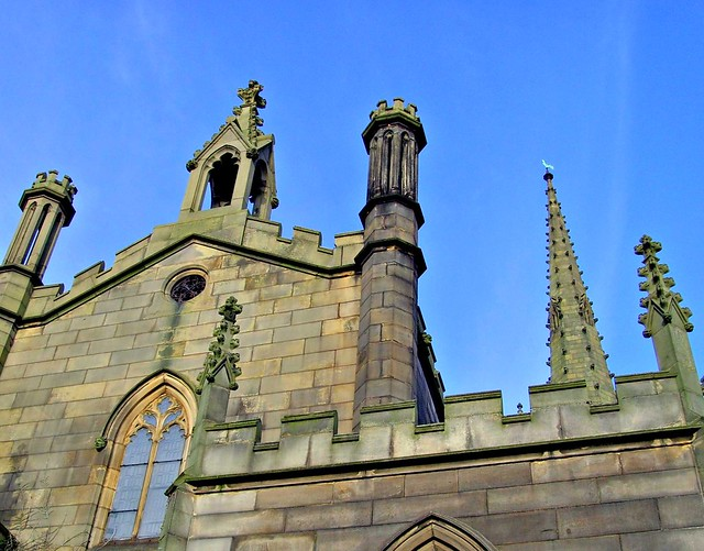 Spires and turrets of St Peters church in Preston