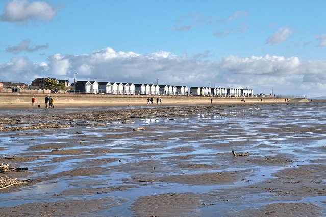 St Annes beach huts in the distance