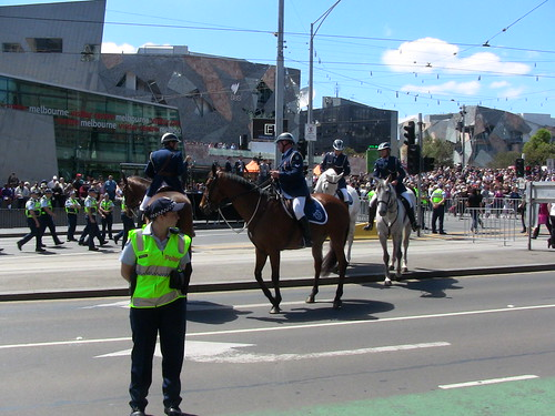 Police mounted an on foot during 2011 royal tour in Melbourne