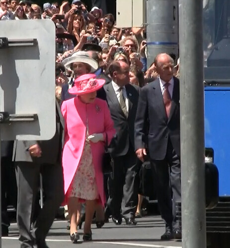 Queen Elizabeth II and Prince Philip at Federation Square during 2011 tour in Melbourne