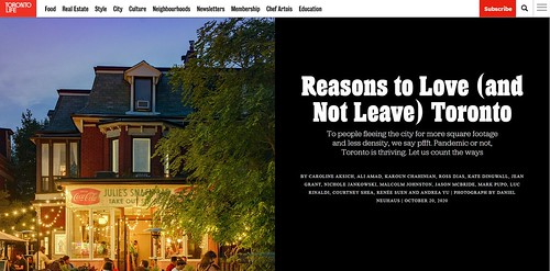 Toronto Life - Nov 2020 - Reasons to Love (Not Leave) Toronto | by Renée S. Suen