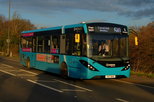 Sunday Sunset: Arriva Harlow ADL Enviro200MMC YX17NHA (4083) Stansted Road Stansted Mountfitchet 22/11/20