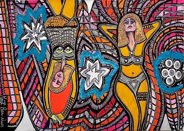 ציורים של אמנים ישראלים מירית בן נון ציירת מודרנית צבעוני עכשווי חדשני
