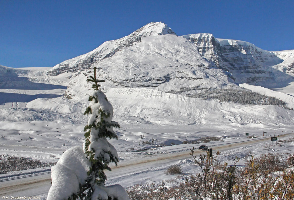 The Icefields Parkway as it passes between the Athabasca Glacier and Columbia Icefield Discovery Centre