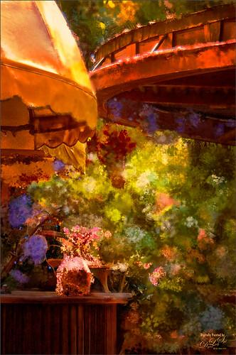 Image of flowers taken at the Garlic Restaurant in New Smyrna Beach, Florida