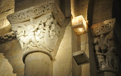 Chapiteaux, église romane Saint Martin de Tours (XIe siècle), Frómista, Tierra de Campos, province de Palencia, Castille-León, Espagne.