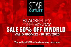 50% Off @ STAR OUTLET INWORLD - Black Friday & Cyber Monday SALE!
