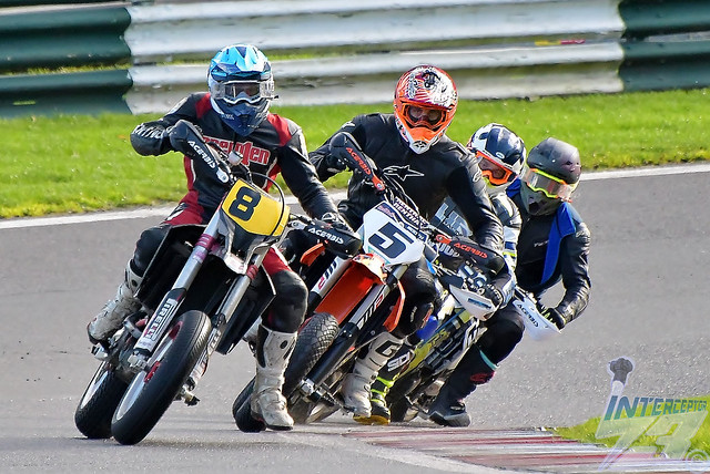 Paul Rhodes (8) leads Simon Booth (5) and Marcus Robinson (256), 2020 Norasport BSSC British Supermoto Championship, Cadwell Park, 1st November