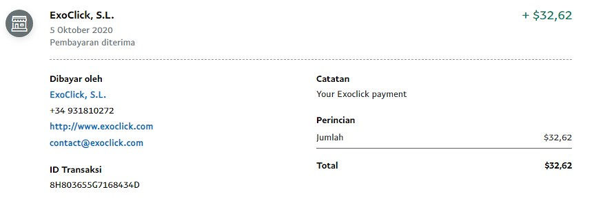 Proof of payment from ExoClick