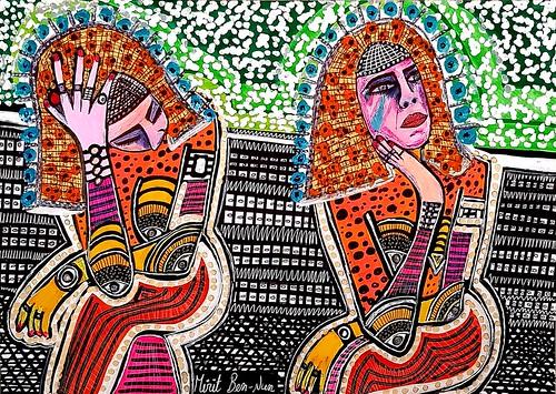 ציורים של אמנים ישראלים מירית בן נון אמנית מודרני צבעוני עכשווי חדשני