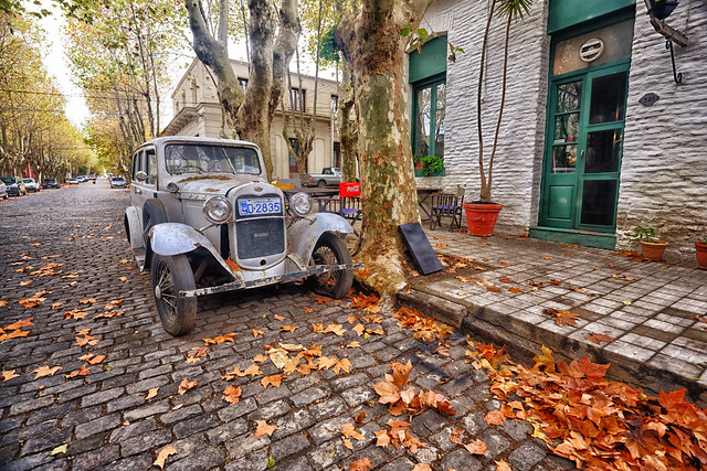Old car in Autumn in Uruguay