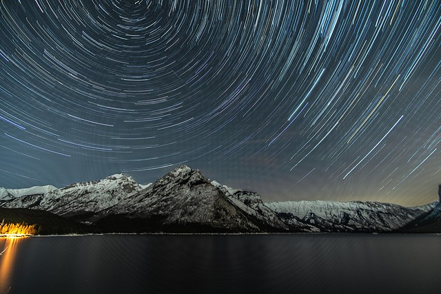 Star trail over Lake Minnewanka, AB