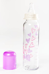 Glass baby bottles with a pacifier