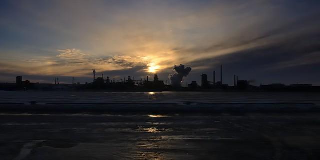 Winter sunset over the blast furnace - Dofasco steelworks, Industrial Sector K, Hamilton, Ontario