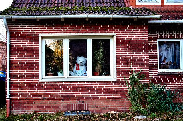 er sitzt  am Fenster