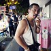 A man with cigarette at night market
