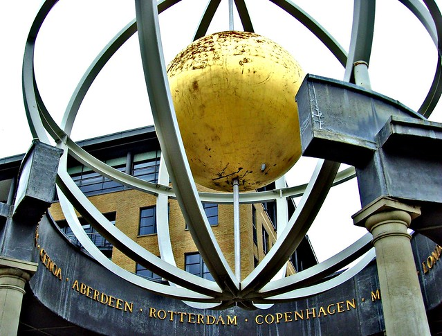 Globe sculpture on the Quayside in Newcastle, England. Stands as a memorial to the port's trading history