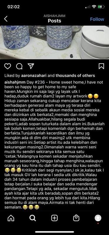 Ganti Siti Nurhaliza, Aishah Kesal Terima Komen Berunsur Hinaan