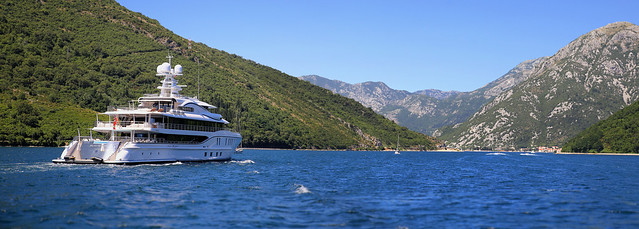 Luxurious Yacht sailing to the inner Bay of Kotor