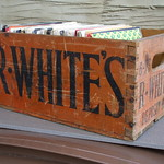 Sat, 2015-08-22 16:30 - Vintage R.White's Lemonade Wooden Shipping Crate Advertising Box ..When i bought this the guy insisted i bought all the records too ! ..these were donated to charity