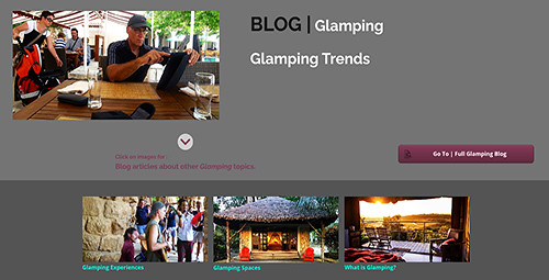 Glamping is a dynamic tourism form that is constantly recasting itself to provide glamping spaces and experiences sought after by glampers and which include the ideas and innovative concepts of glamping entrepreneurs. Glamping trends investigate and forecast those glamping aspects that are likely to be important in the years ahead.