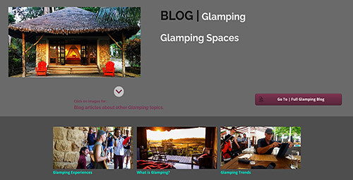 Glamping Spaces form an important aspect of glamping and include its accommodation shelter abodes, the immediate area around the glamping facility providing  amenities and auxillary services for the space, along with the surrounding environment and topography in which the glamping space is situated.