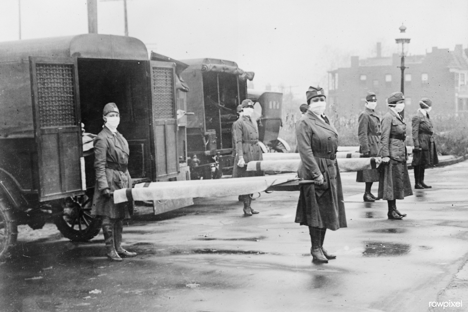 St. Louis Red Cross Motor Corps on duty during influenza epidemic (1918). Original from Library of Congress. Digitally enhanced by rawpixel.