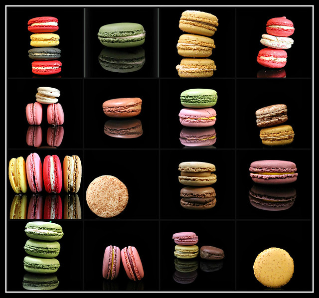 Macarons with Black Backgrounds collage #1