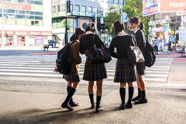 Japanese High School Girls at JR Shimbashi Station : JR新橋駅銀座口にて
