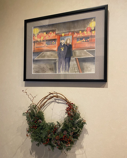 Some new fun additions to my office! A watercolor painting based on one of my favorite pictures of us, and a locally handcrafted wreath!