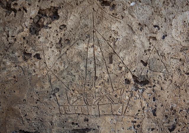 Drawings carved on Takwa ruins, Lamu County, Manda island, Kenya