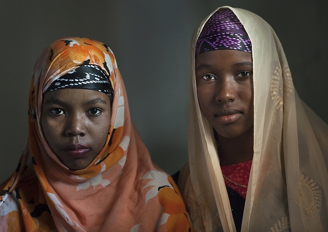 Muslim teenage girls with colorful veils, Lamu County, Lamu, Kenya