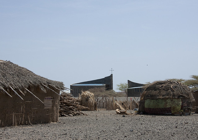 Church in a tribal village, Turkana lake, Lodwar, Kenya