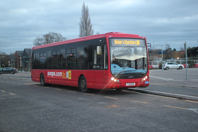 Trustybus / Galleon Travel ( 2009 ) Ltd . Roydon , Essex . YJ11EHH . Bishop's Stortford Railway Station , Car Park , Hertfordshire . Saturday afternoon 21st-November-2020 .