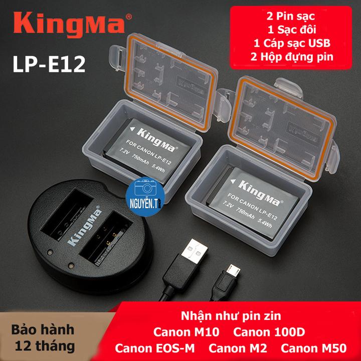 Đốc sạc đôi + 2 Pin LP-E12 cho Canon M10 M50 100D M2 EOS-M – KINGMA chính hãng