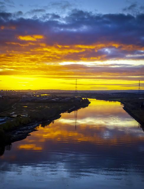 Pre-dawn, River Cylde from Erskine Bridge, Scotland, UK