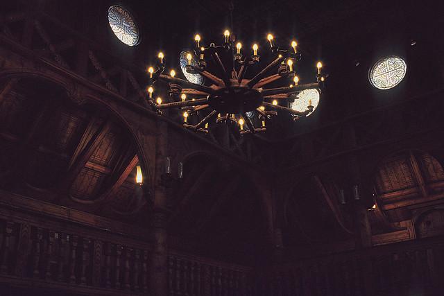 Inside a stave church