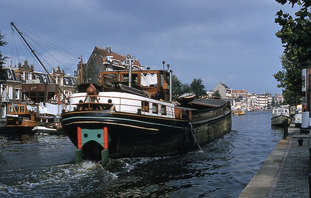 Boat on canal.  Amsterdam 1961