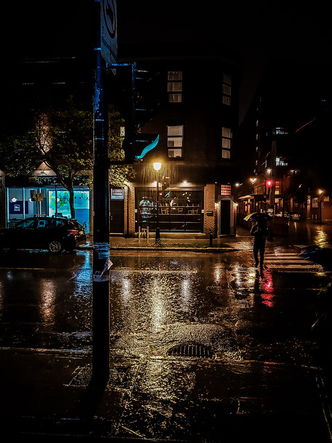 Crossing the Street on a Rainy Night