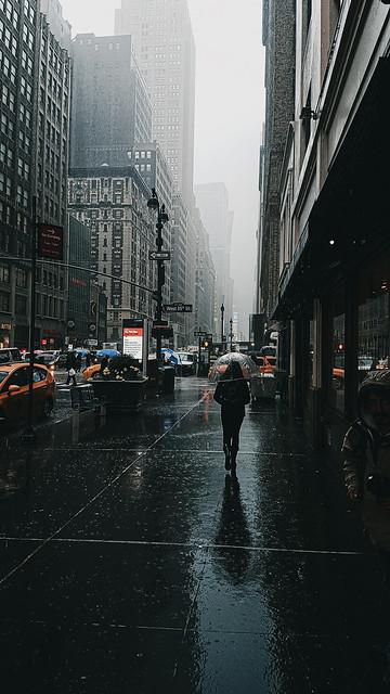 Walking in the Rain - 7th Avenue Midtown Manhattan