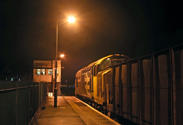 37425 and ballast train stand by Machynlleth signal box waiting to head back to Bescot.