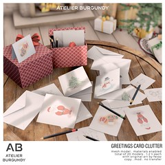 Atelier Burgundy . Greetings Card Clutter