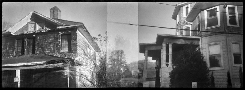 two architectural forms, one abandoned, partial double exposure, Asheville, NC, Kochmann Korelle folding camera, Schneider Kreuznach Xenar 75mm f-4.5, Foma 400, HC-110, 11.21.20 developer