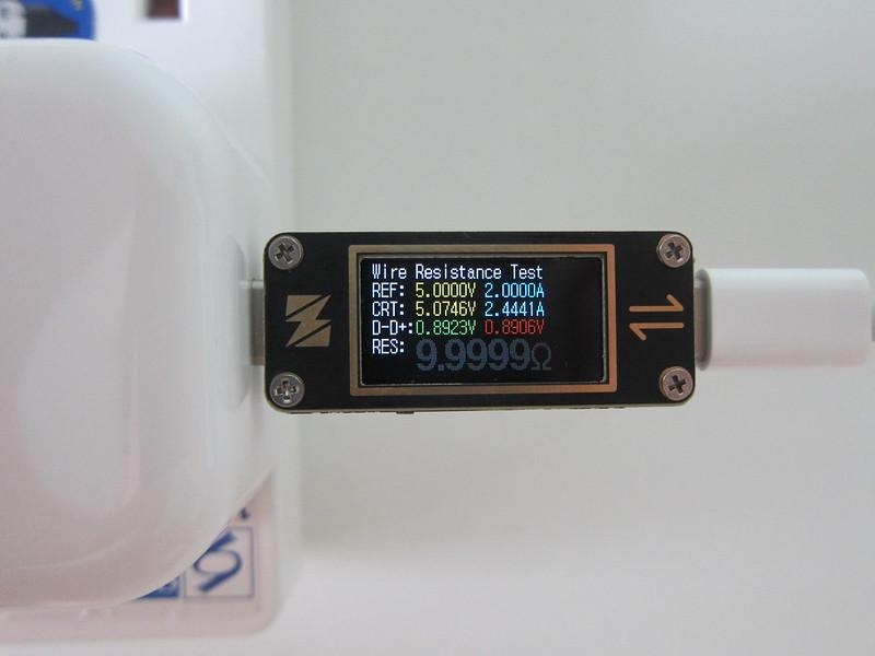 YZXstudio USB-C Power Meter - Wire Resistant Test View